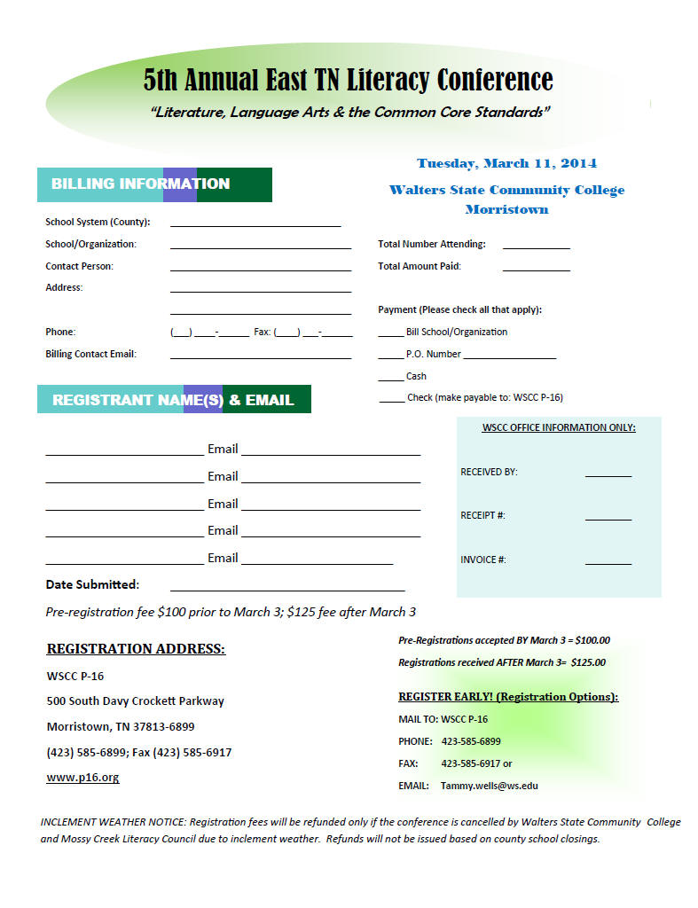 East TN Literacy Conf Registration Form